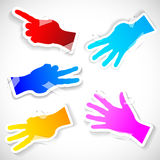 Five Paper stickers of raised hands. Paper colored stickers of raised hands. Vector illustration Vector Illustration