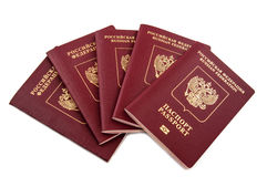 Five passports Russian Federation Royalty Free Stock Photos