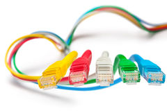 Five patch cords. Concept. Royalty Free Stock Images
