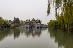 Five Pavilions Bridge and Slender West Lake, Yangzhou Royalty Free Stock Photo
