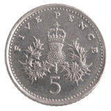 Five Pence coin. Isolated over a white background Royalty Free Stock Photos