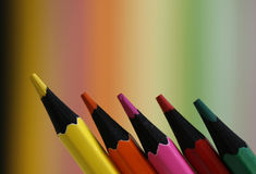 Five pencils. A part of  pencils with a simple  colorful background Royalty Free Stock Photo