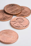Five pennies. A pile of U.S. (american) one cent coins stock images