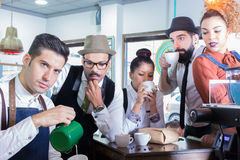 Five people in cafe Royalty Free Stock Photo