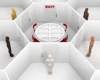 Five people standing around the closed white room with round table and closed door with a red exit sign. Meeting people to discuss. Five people with different Stock Photos