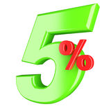 Five percent. 3d render illustration isolated on white background Stock Photo