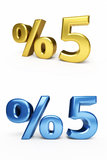 Five Percent. 3d render five percent ( on white and clipping path Royalty Free Stock Photo