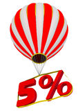 Five percent flies in a hot air balloon. Isolated. 3D Illustration Royalty Free Stock Images