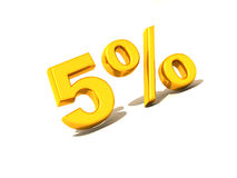 Five percent. Gold. 3d Very beautiful three-dimensional illustration, figure Royalty Free Stock Photo