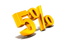 Five percent. Gold. 3d Very beautiful three-dimensional illustration, figure Royalty Free Stock Photography