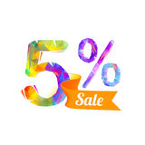 5 five percents sale Stock Photography