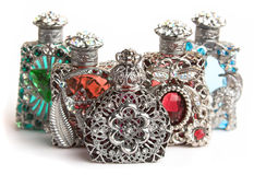 Five perfume bottles Royalty Free Stock Images