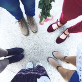 Five Person Wears Footwear at Daytime Stock Photo