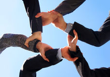 Five persons are holding their hands together Royalty Free Stock Photo