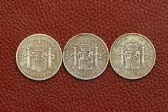 Five pesetas spain old coins Stock Photo