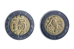 Five peso mexican coin. Front and back of a five peso mexican coin on white background Royalty Free Stock Image