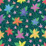 Five petal watercolor pink small seamless pattern. This illustration is painting watercolor five petal flowers with green leaves decoration in seamless pattern Stock Images