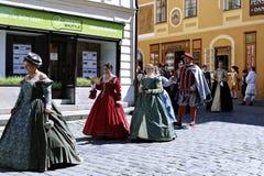 Five-petalled Rose Festival on bystreet in Cesky Krumlov Royalty Free Stock Image