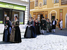 Five-petalled Rose Festival on bystreet in Cesky Krumlov Stock Image
