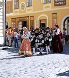 Five-petalled Rose Festival on bystreet in Cesky Krumlov Stock Photo