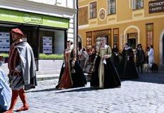 Five-petalled Rose Festival on bystreet in Cesky Krumlov Royalty Free Stock Images
