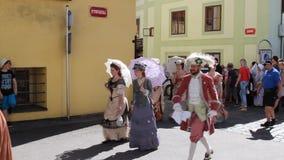 Five-petalled Rose Festival in Cesky Krumlov in the Czech Republic stock footage