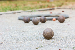 Five petanque balls Stock Photos