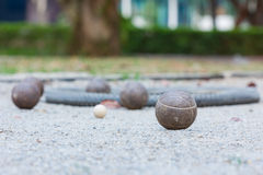 Five petanque balls Stock Image