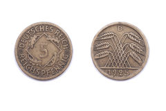 Five Pfennig coin from Germany 1925 Royalty Free Stock Photography