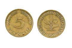 Five Pfennig Germany 1950. On white background stock photography