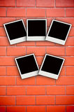 Five photo frame on brick wall. Abstract advertising aged album antique art background black blank border brick Royalty Free Stock Photos
