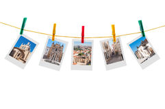 Five photos of Coimbra on clothesline Royalty Free Stock Photo