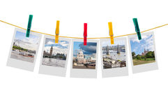 Five photos of London on clothesline Royalty Free Stock Photography