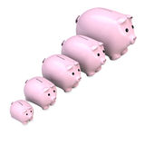 Five piggy banks in a row Royalty Free Stock Photography
