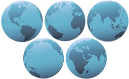 Five Planet Earth Globes in Soft Blue Light. Set of blue globes of planet Earth, in soft light. Group of 5 views of Europe, Asia, Pacific, Americas Western Royalty Free Stock Photography