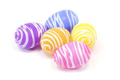 Five easter eggs isolated on a white background Royalty Free Stock Images