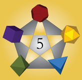 Five platonic solids. Five platonic coloured solids with pentagram Stock Images