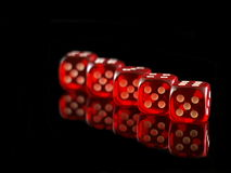 Five playing dice Stock Photos
