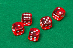 Five playing red dices on green table Royalty Free Stock Image