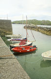Five Pleasure Boats Moored at Lewis, Scotland Royalty Free Stock Photography
