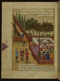 Five poems (quintet), Tayyib and Tahir at a party with their rescuers in European attire, Walters Manuscript W.666, fol. Stock Photo