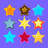 Five-Point Colorful Cartoon Star Collection For Flash Video Game Rewards , Bonuses And Stickers. Bright Color Glossy Pentagram Shapes Isolated Vector Icons Royalty Free Stock Photography