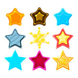Five-Point Colorful Cartoon Star Set For Flash Video Game Rewards , Bonuses And Stickers. Bright Color Glossy Pentagram Shapes  Vector Design Template Icons Stock Photography