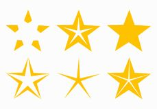 Five point gold stars icons Stock Images