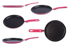 Pink frying pan with a nonstick coating Royalty Free Stock Photography
