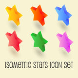 Five-pointed colorful star, isometric icon set. Five-pointed colorful stars, isometric icon set. Pictogram isolated on white background. Red, yellow, blue Stock Photo