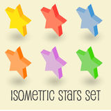 Five-pointed colorful star, isometric icon set. Five-pointed colorful stars, isometric icon set. Pictogram  on white background. Red, yellow, blue, orange Stock Photos
