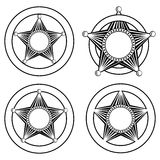 Five pointed sheriffs star in circle set Stock Photos