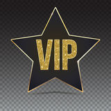 Five-pointed star with a Golden edging and the inscription VIP. Stock Photo