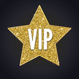 Five-pointed star with a Golden edging and the inscription VIP. Stock Photos